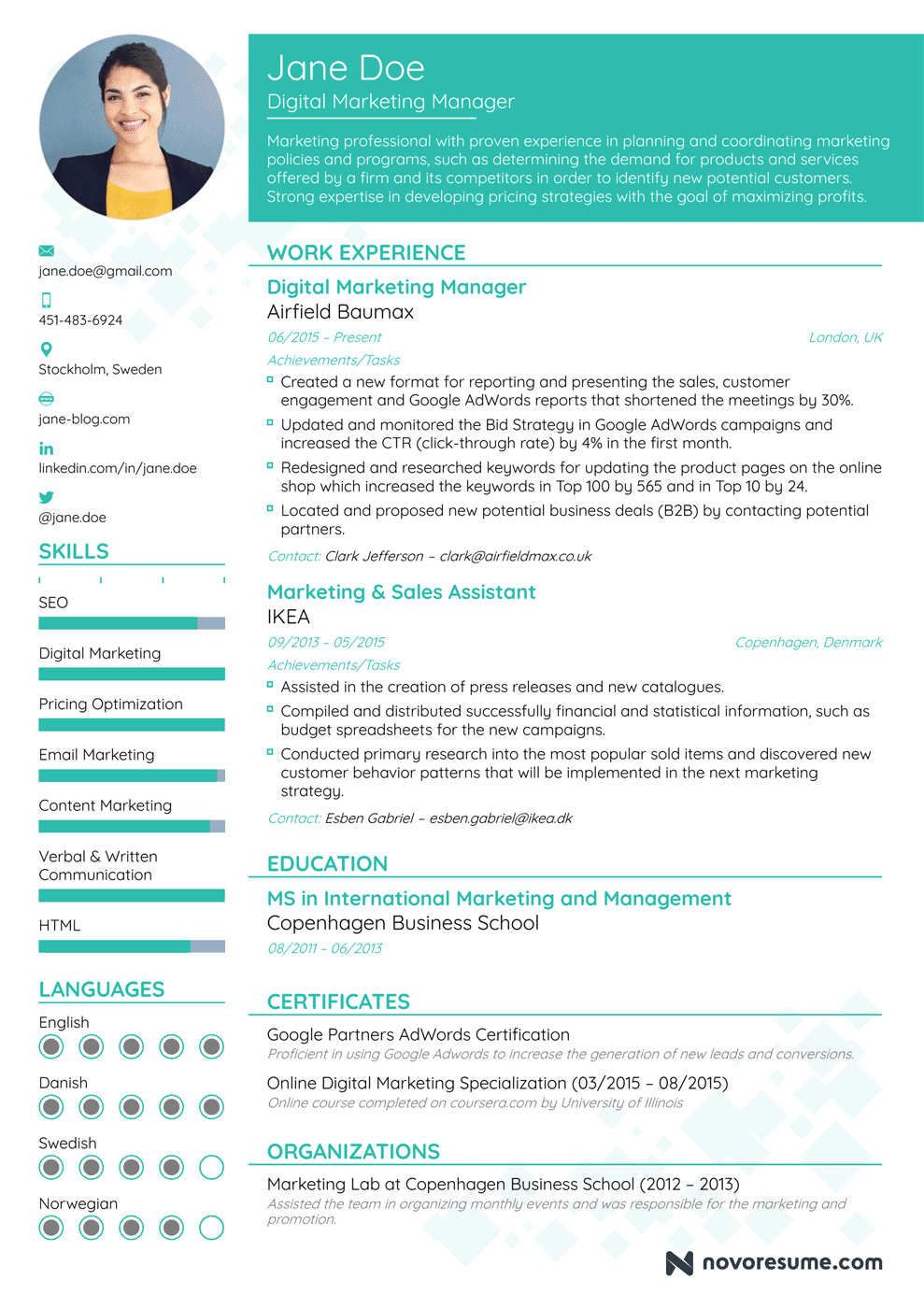 Marketing Resume Example  Digital Marketing Resume Sample
