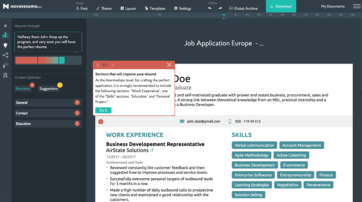 intuitive and professional resume builder 2019