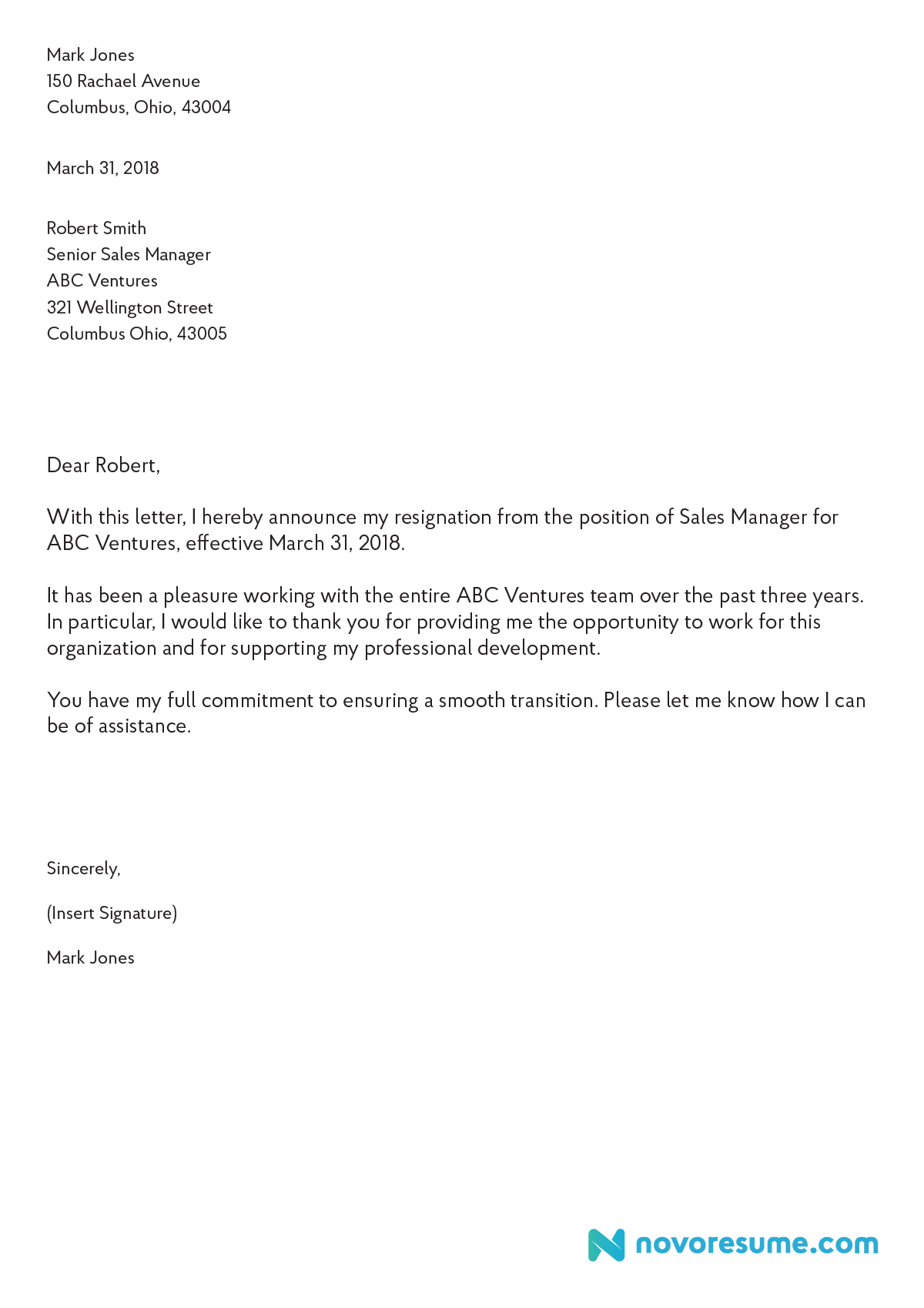 sample letter resignation