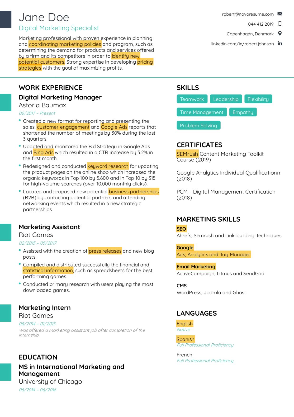 resume keywords example