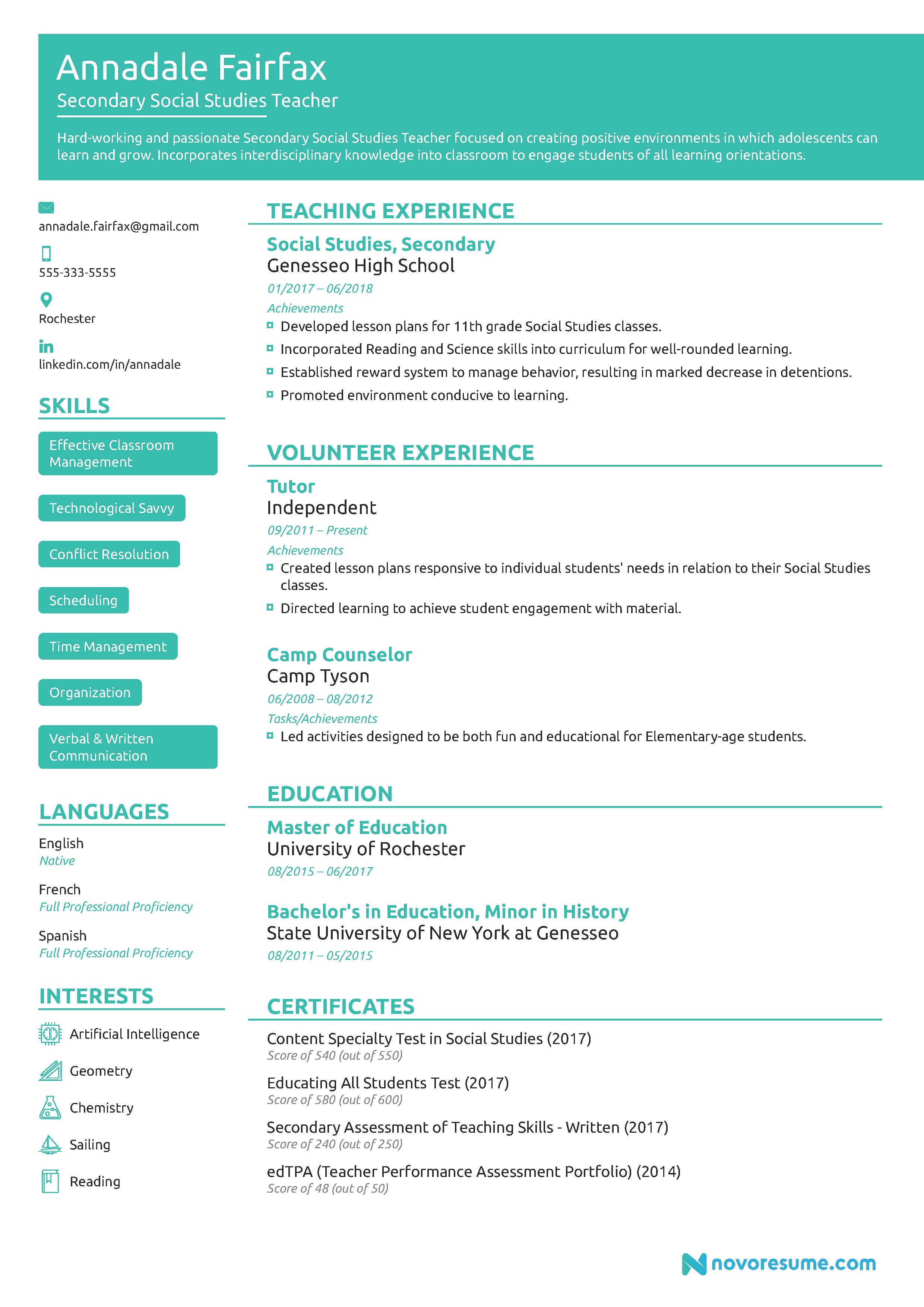 Teacher Resume Example 2018 Guide Example