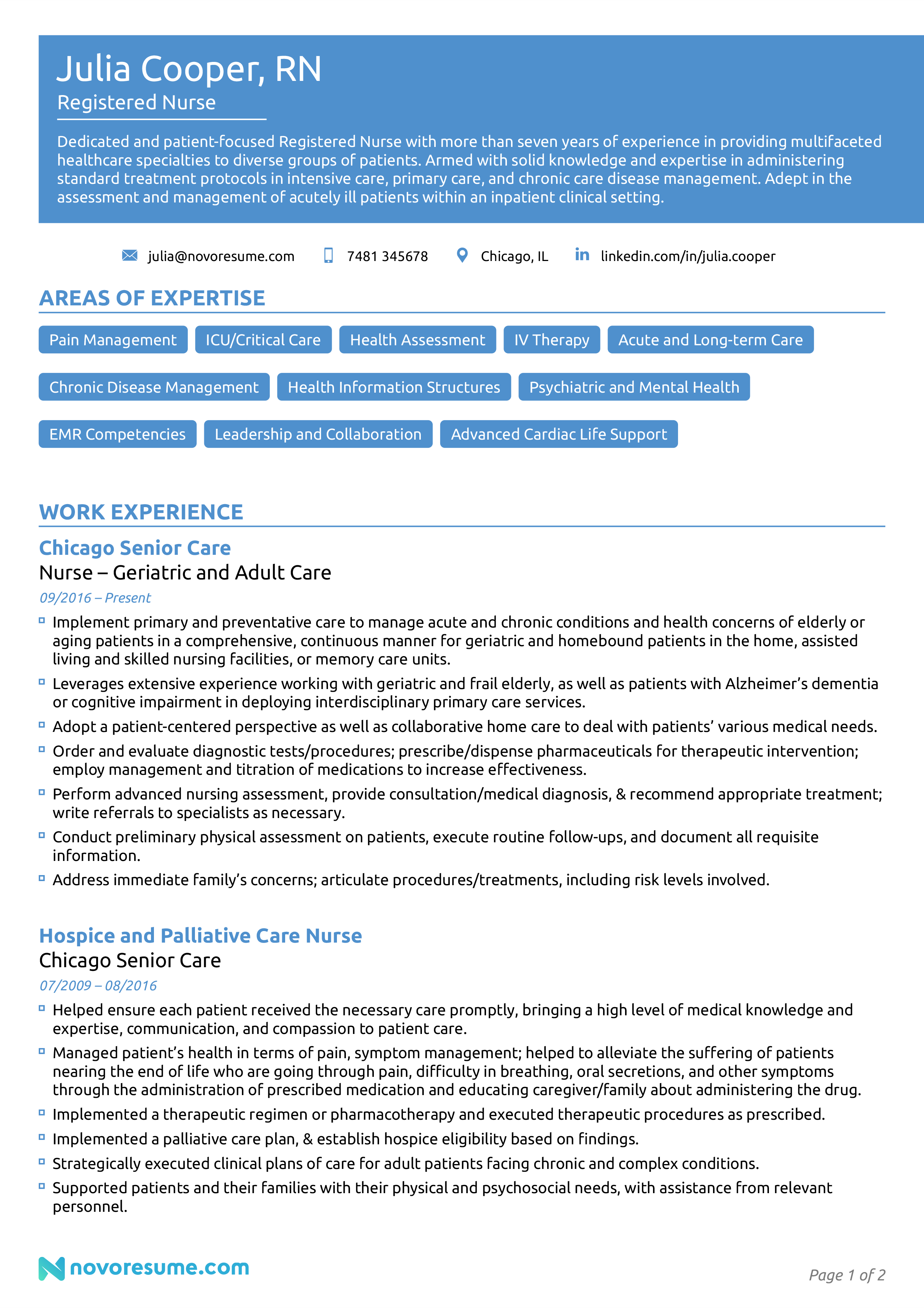 registered nurse resume example page 1