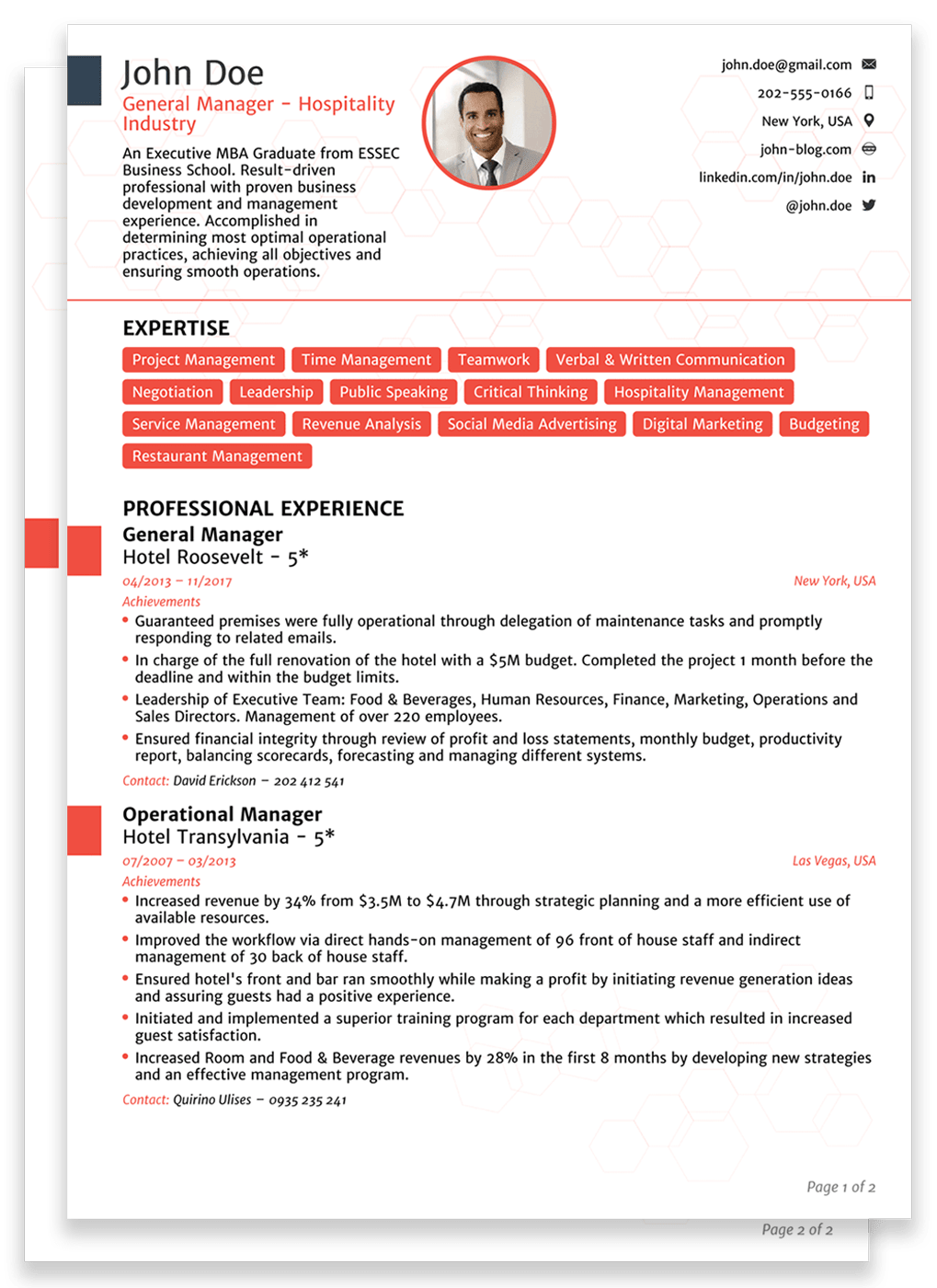 2 pages resume sample