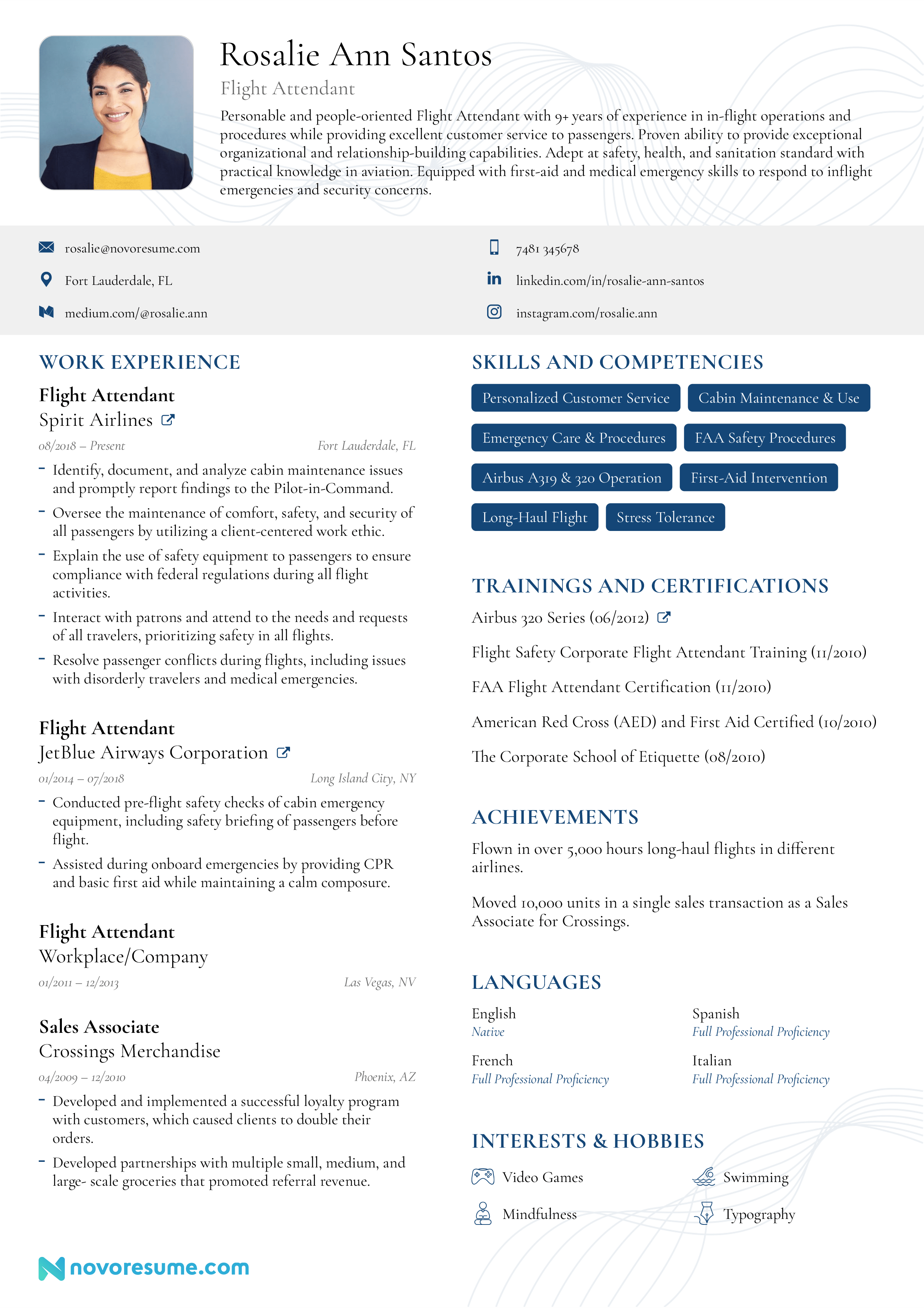 Flight Attendant Resume W Templates Examples For 2020