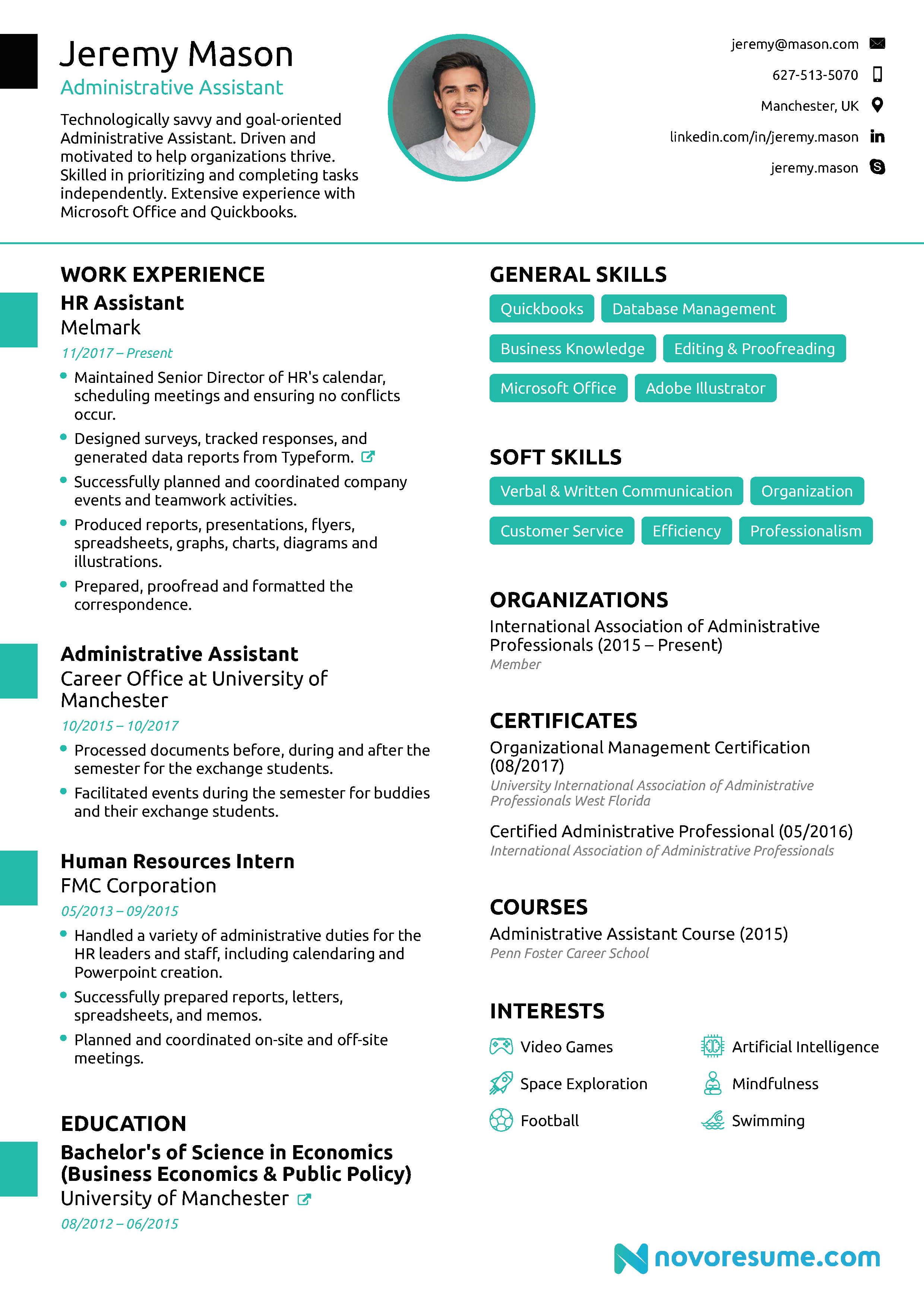 sample resume of administrative assistant