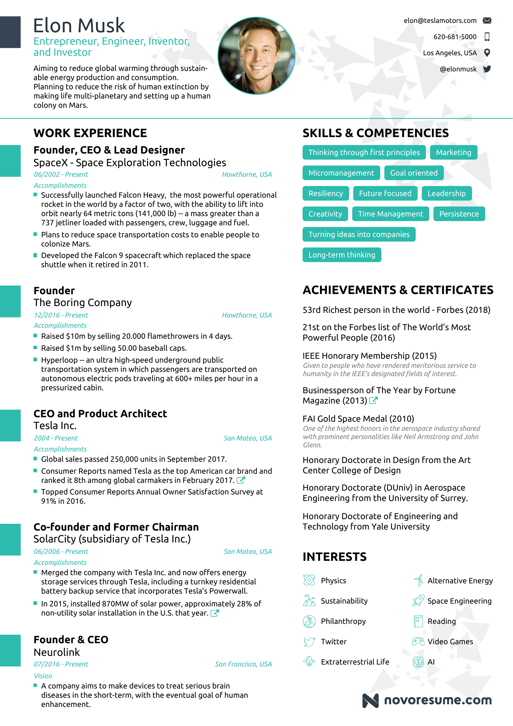Elon Musk One Page Resume Intended For Elon Musk Resume