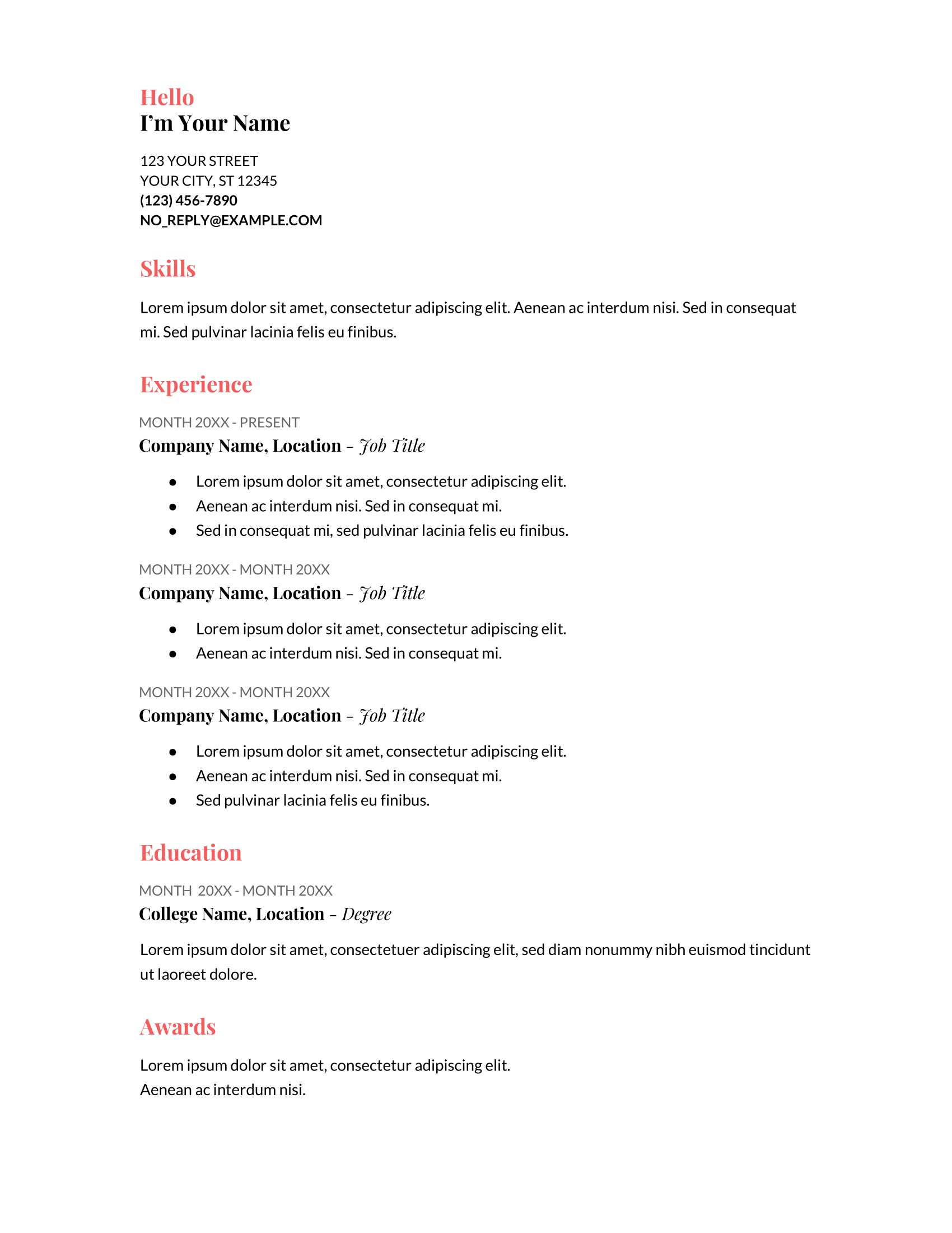 Cover Letter Template Google Drive from d.novoresume.com