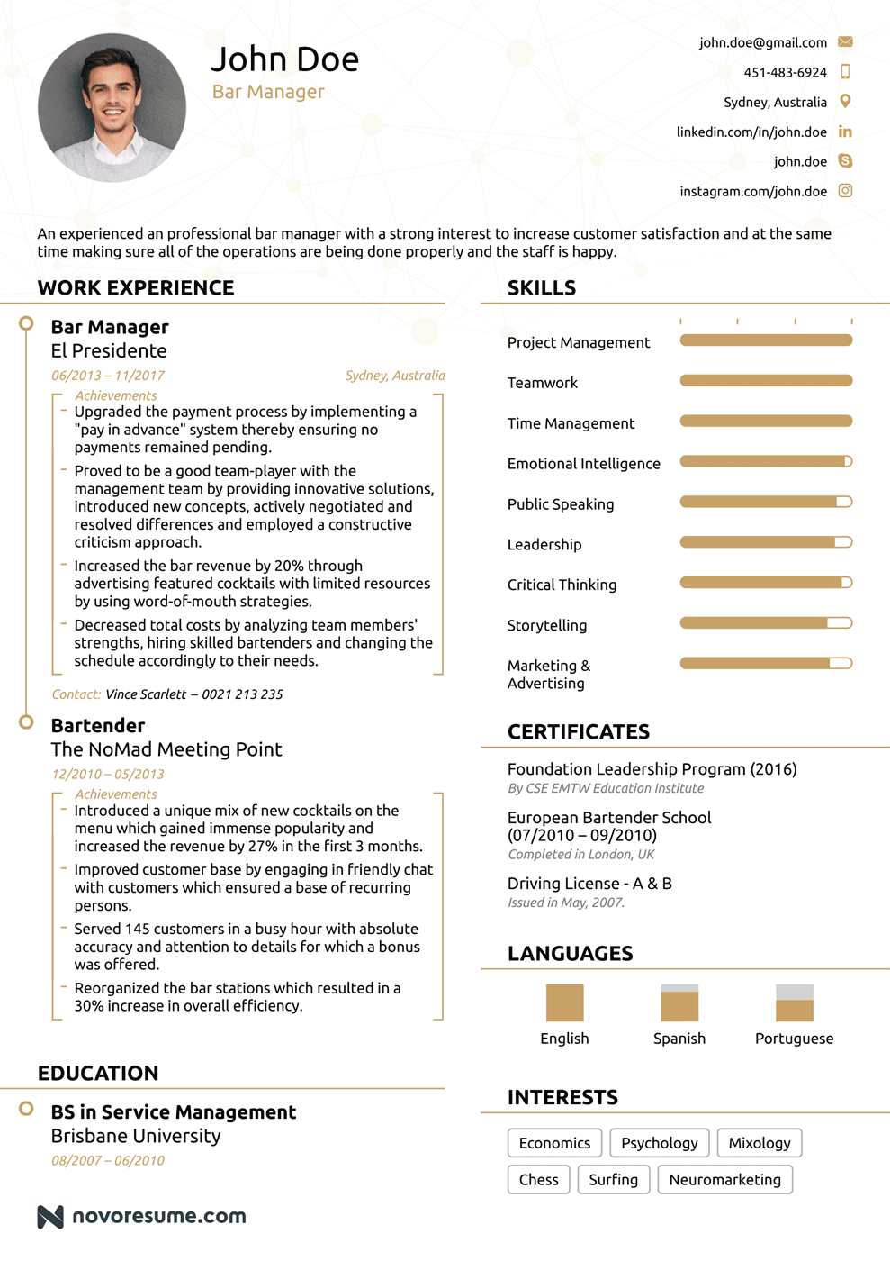 Bar & Restaurant Manager Resume Example - Update Yours for 2018