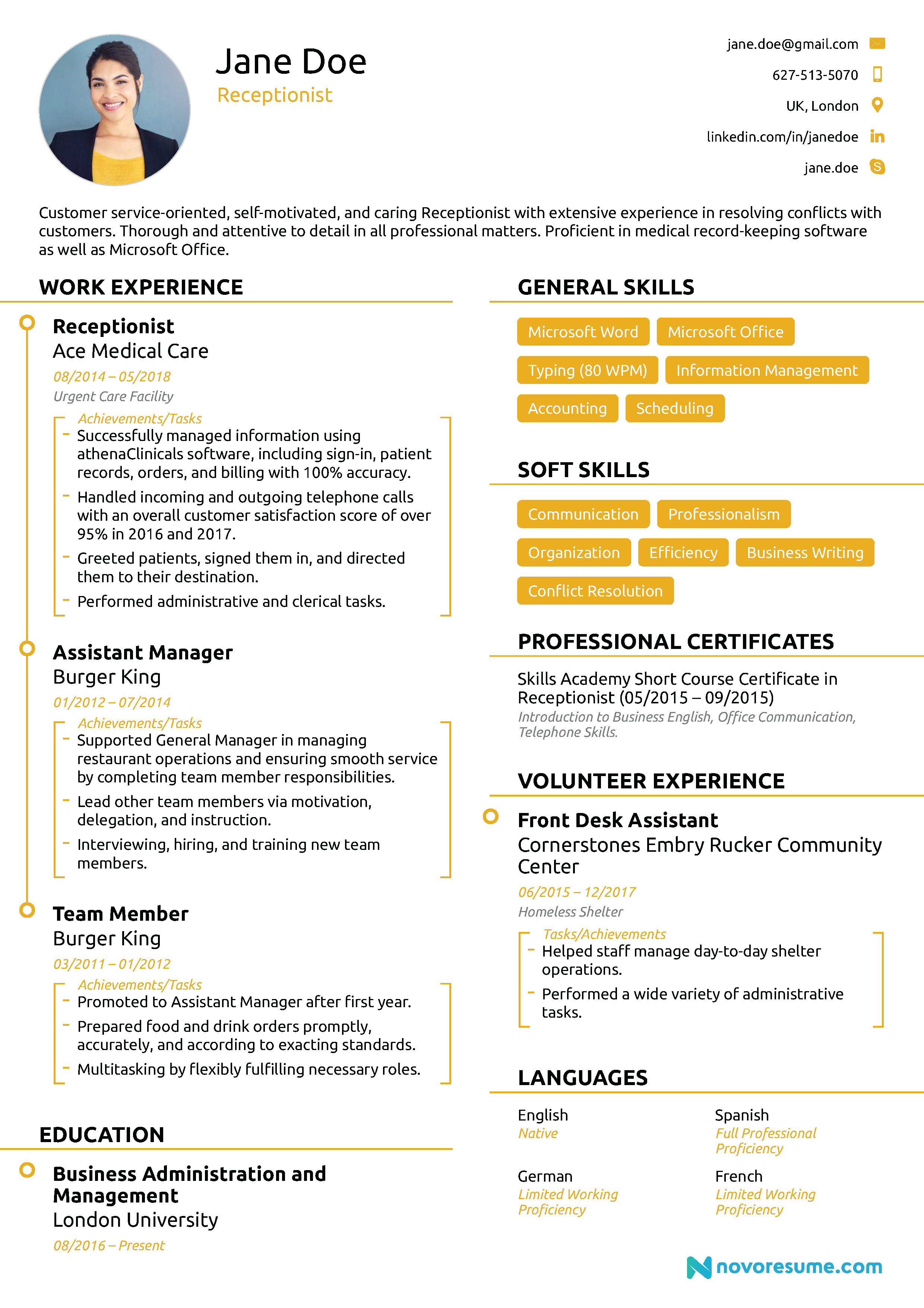 Receptionist Resume [2019] - Guide and Examples