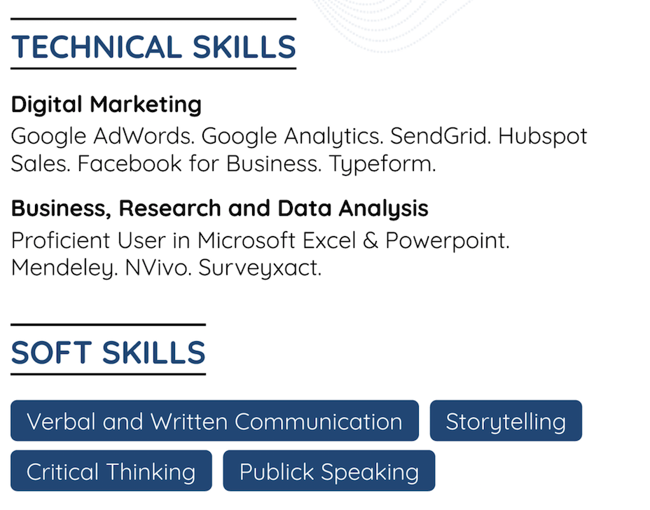 skills section of a resume