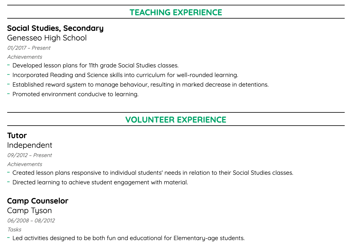 Work Experience On A Resume 41 Job Description Examples