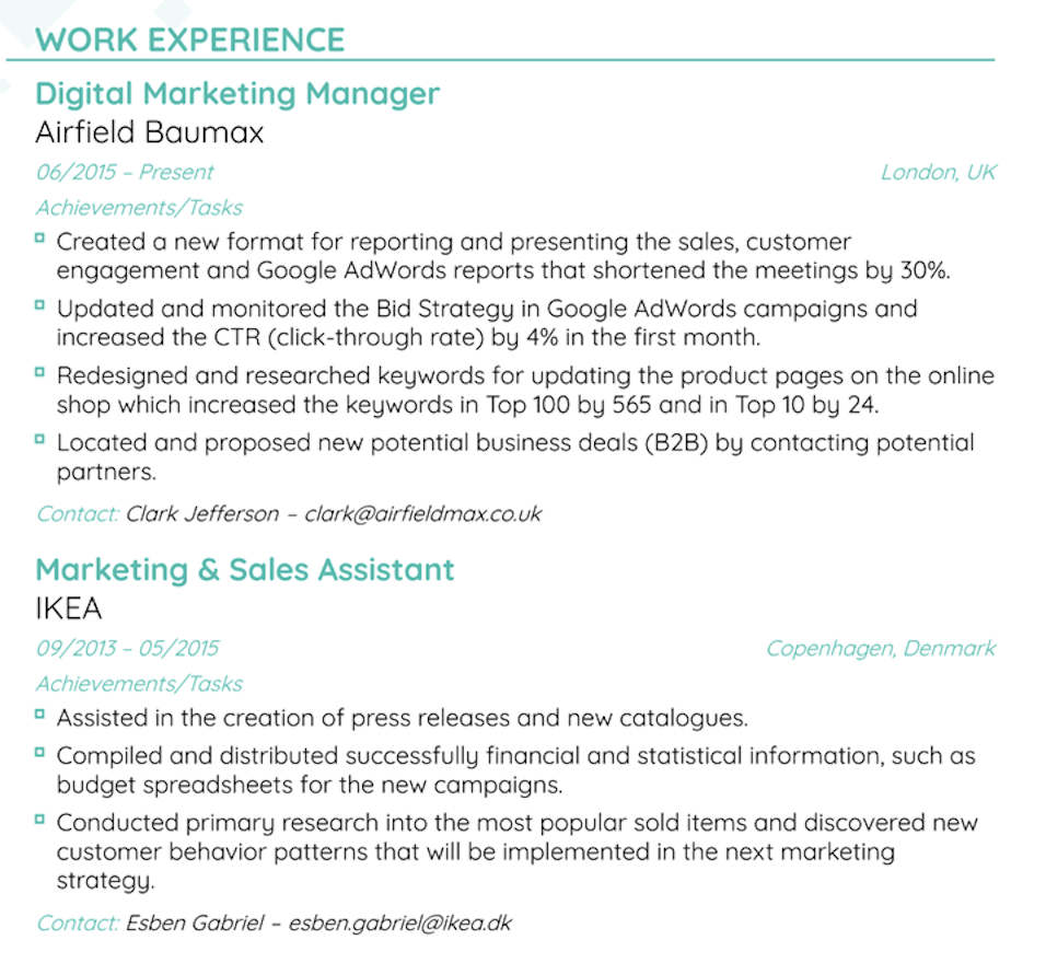 Work Experience Email Template from d.novoresume.com