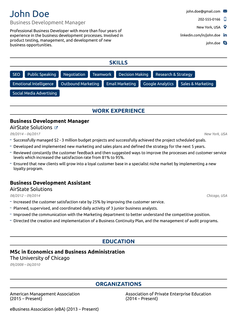 Business Resume Example 2019 46