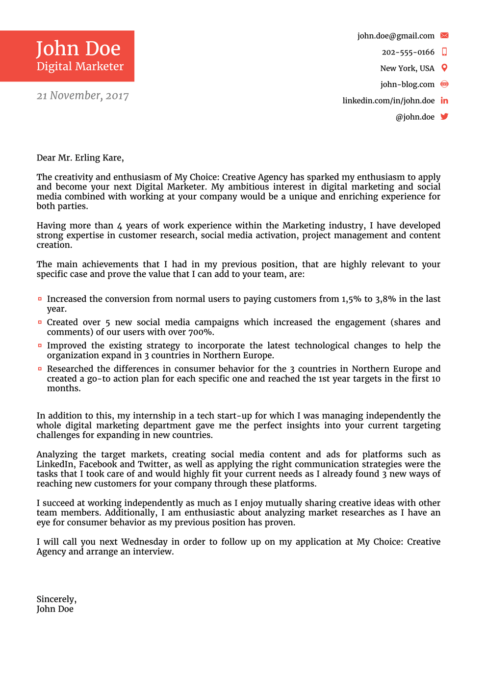 Professional Job Cover Letter Examples