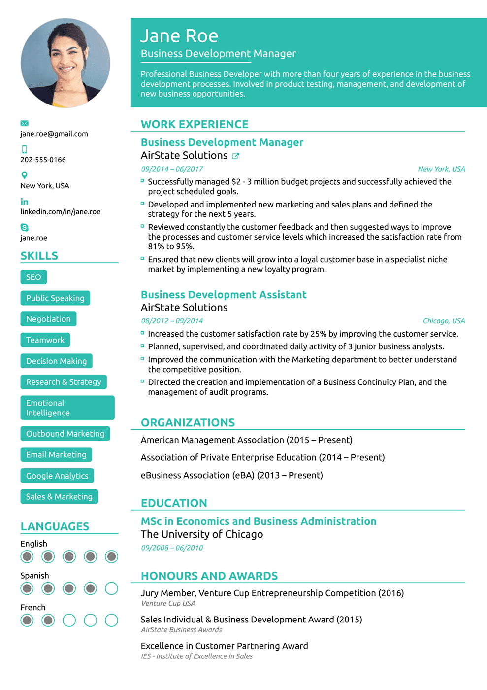 sample format of resumes