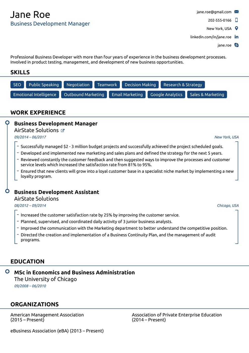 Business Resume Example 2019 11