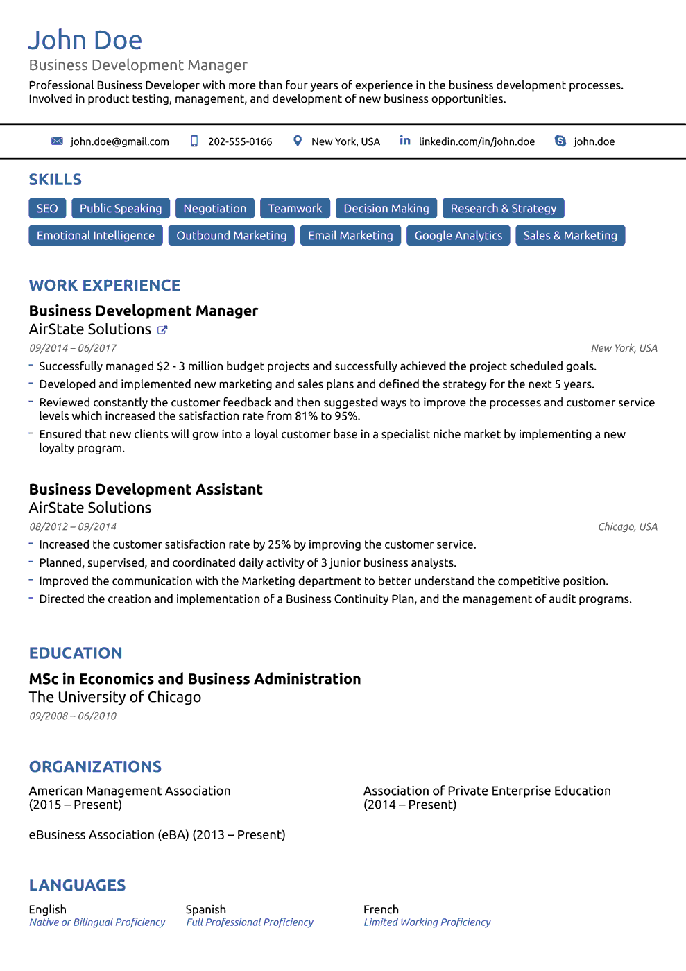 Basic Resume Template  Business Resume Template