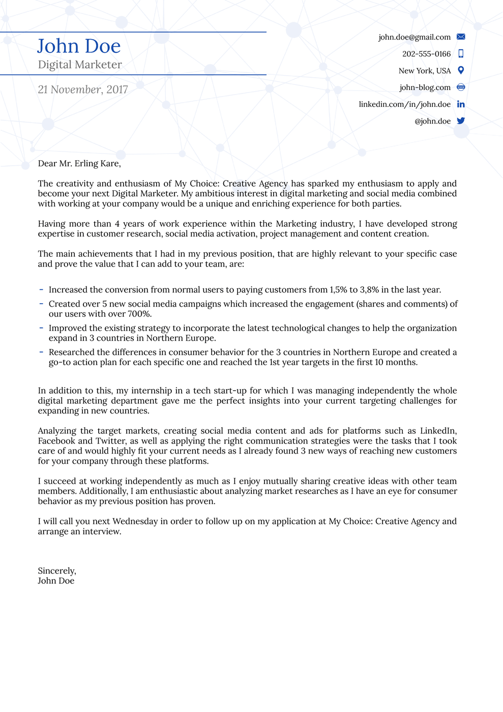 college cover letter template - Cover Letter To Company