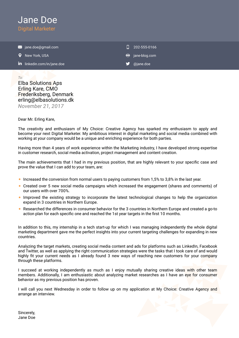 2018 professional cover letter templates