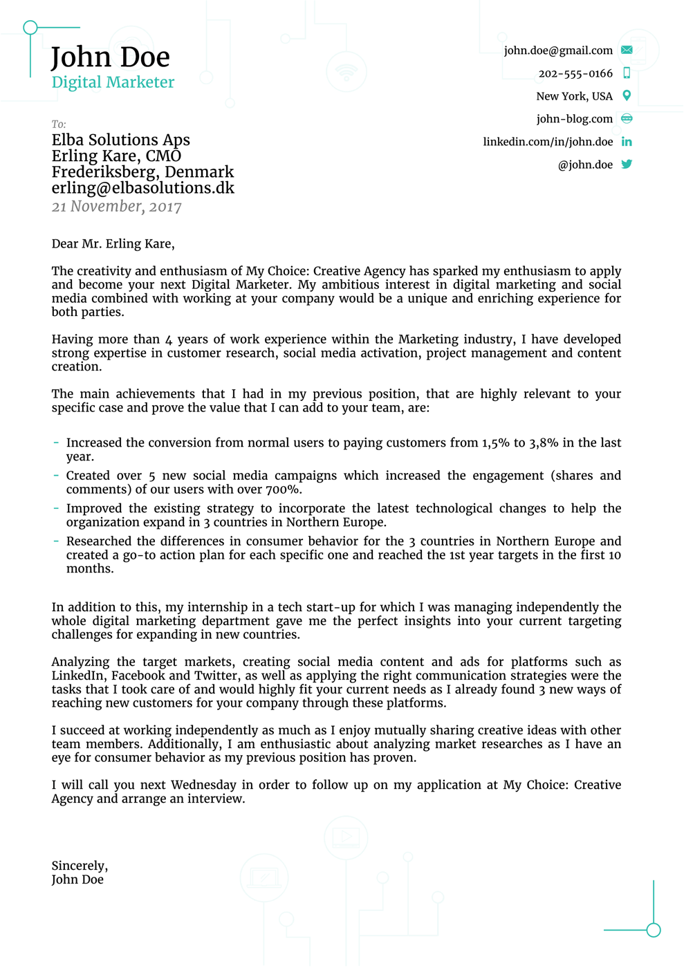 modern cover letter template - Application Cover Letters