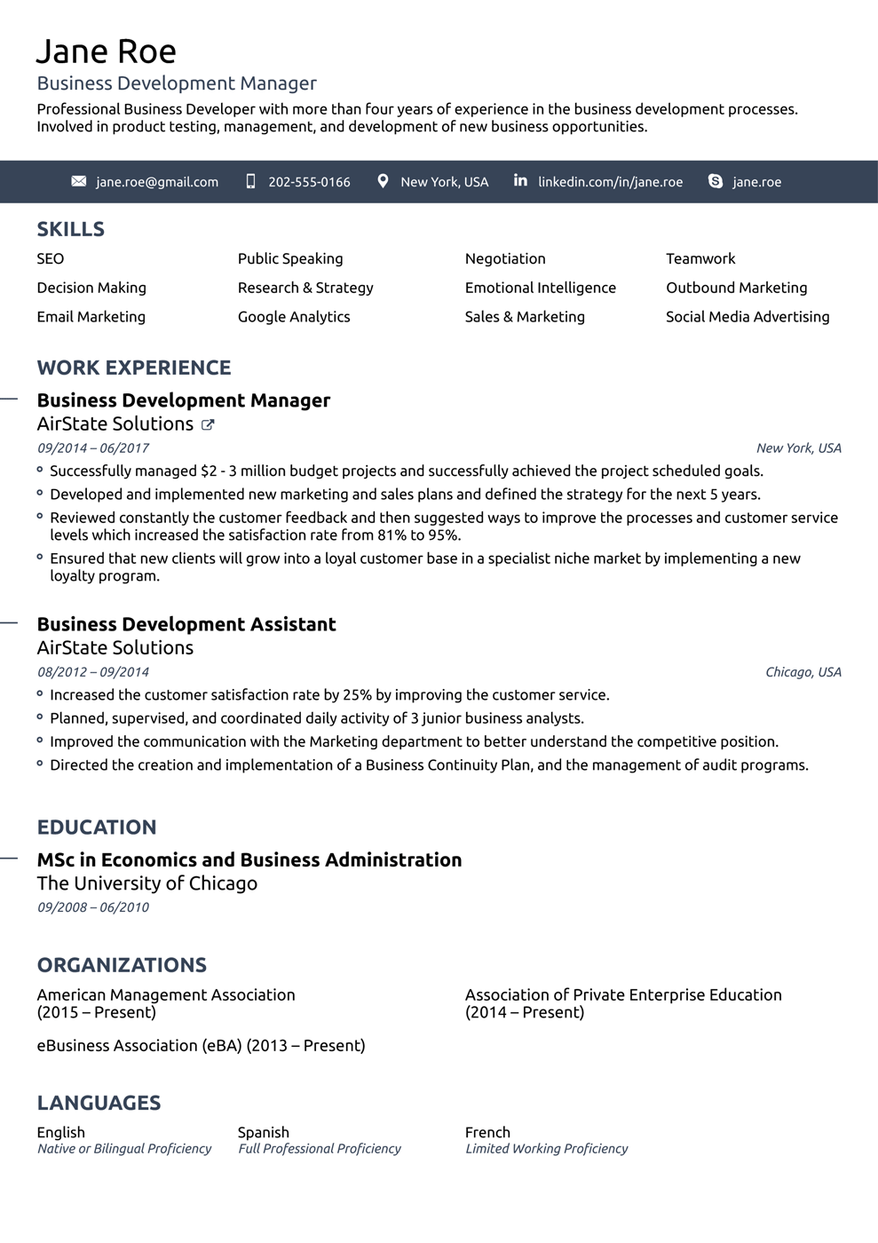 Font And Format Lay Out For A Resume