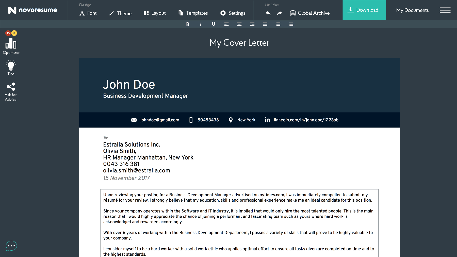 online cover letter builder