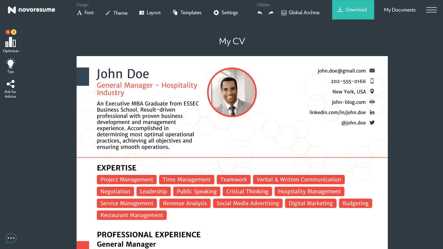 a modern cv maker where a cv for a general manager is being shown