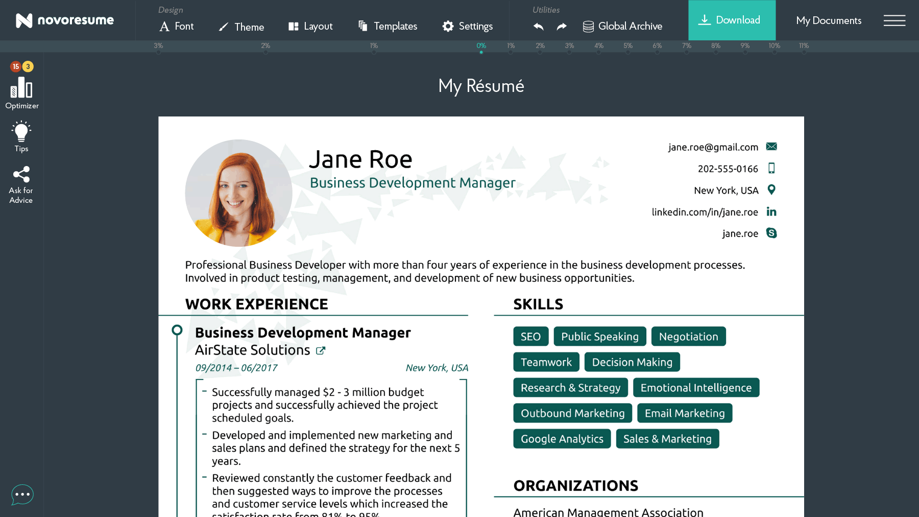 A professional resume builder showing a resume for a business development manager