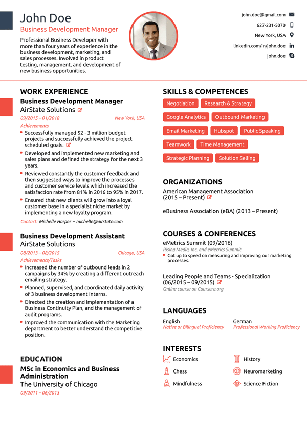 Professional Resume Example.  Free Professional Resume